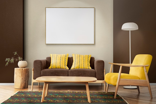 Interieur woonkamer design scandinavische stijl in warme toon