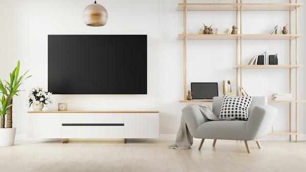 Interieur woonkamer met bank en kast tv. 3d-weergave.