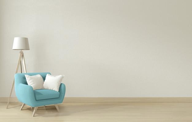 Interieur woonkamer met blauwe fauteuil en decoratie. 3d-weergave