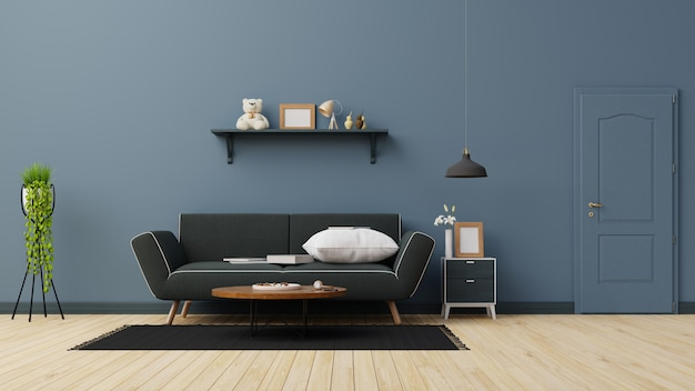 Interieur woonkamer met donker blauwe bank. renderen.