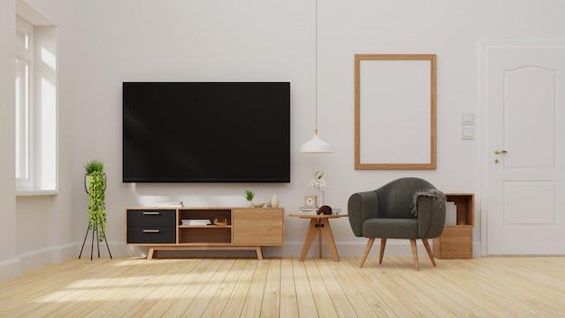 Interieur woonkamer met donkere bank. renderen.