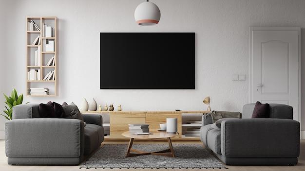 Interieur woonkamer met grijze bank en groot televisiescherm. 3d-weergave