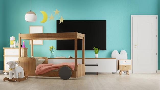 Interieur woonkamer met kinderbed. 3d-weergave