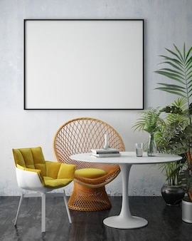 Interieur woonkamer met meubels, een bank en een leeg fotolijstje