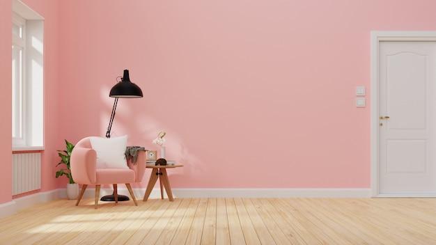 Interieur woonkamer met roze bank. renderen.