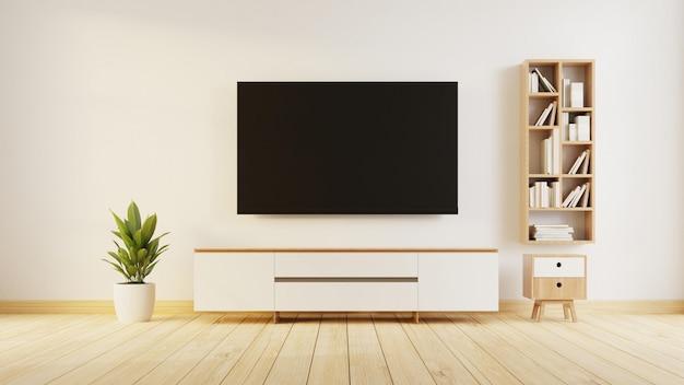 Interieur woonkamer met tv-meubel. 3d-weergave.