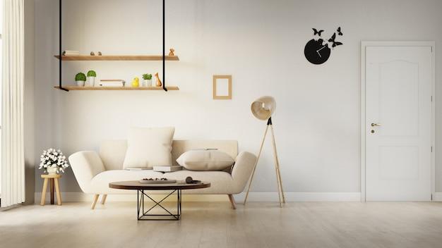 Interieur woonkamer met witte bank. 3d-weergave