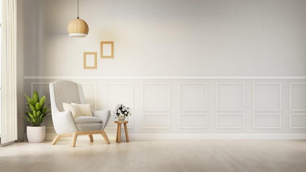 Interieur woonkamer met witte fauteuil. 3d-weergave