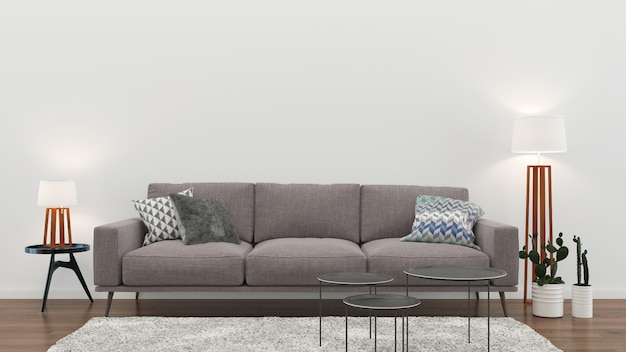 Interieur woonkamer witte muur houten vloer interieur fauteuil lamp