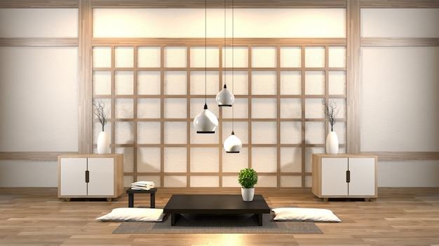 Interieur zen woonkamer met lage tafel, kussen, frame, lamp op houten vloer