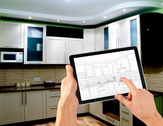 Interieurindelingsplan op tabletcomputer. bedrijf