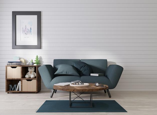 Interieurmodel een fotolijst is bevestigd aan een zwarte bank in een kamer met blauwe lamellen aan de muur
