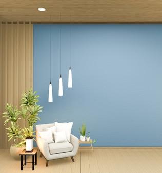 Interieurontwerp heeft een fauteuil op lege blauwe kamer japans ontwerp, 3d-rendering