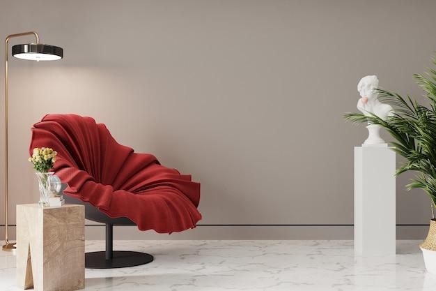 Interieurontwerp met rode fauteuil