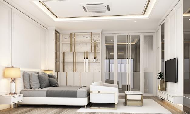 Interieurontwerp moderne klassieke stijl van slaapkamer met wit marmer en gouden textuur en witte meubels set 3d-rendering interieur