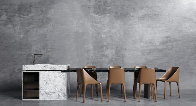 Interieurontwerp van eetkamer met stijlvolle modulaire beige stoelen en marmeren muur, houten vloer, planten, neutrale scheidingswand, decoratie en elegante accessoire, modern huisdecor, 3d-rendering