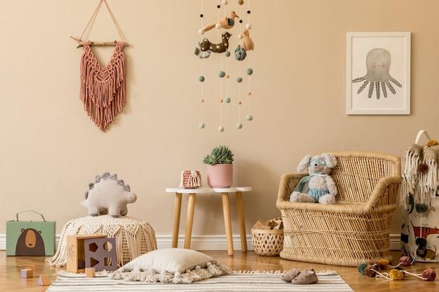 Interieurontwerp van kinderkamer met mock-up frame speelgoed en accessoires sjabloon Premium Foto
