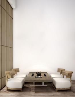 Interieurontwerp voor woongedeelte in japanse stijl