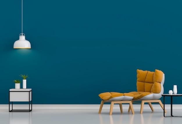 Interieurontwerp voor woonkamer of receptie met fauteuil