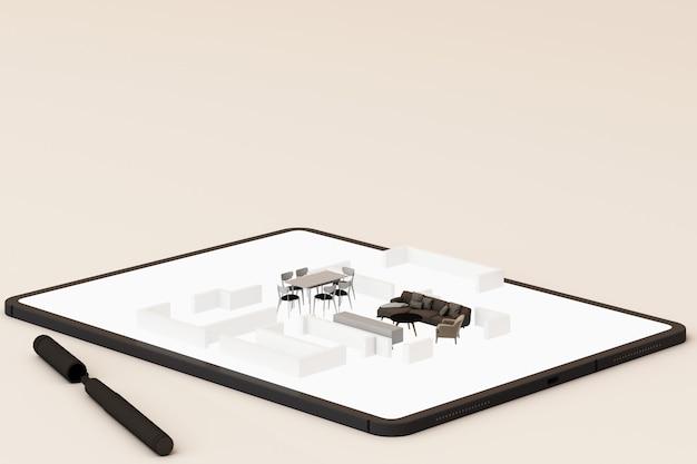 Interieurontwerpconcept: zakenman met een tablet met interieurontwerp-app op het scherm. 3d-rendering