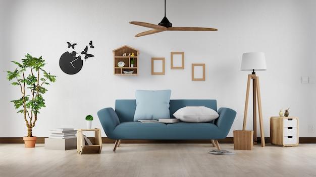 Interieurposter mock-up woonkamer met kleurrijke witte bank. 3d-weergave