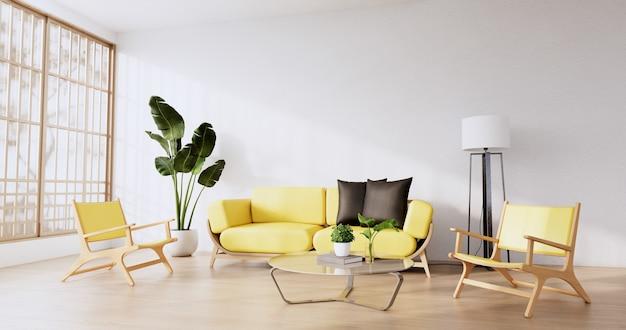 Interieurscène mock-up met gele bank en decoratie op kamerminimalisme. 3d-rendering