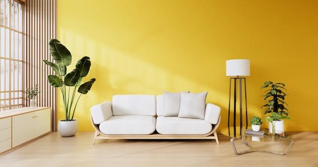 Interieurscène mock-up met gele muurkamer en wit bankminimalisme. 3d-rendering