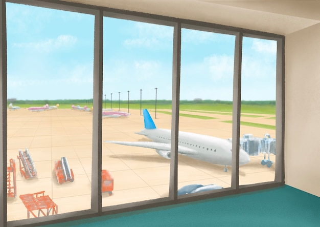 Internationaal luchthaventerminallandschap van vliegveld met vliegtuig en blauwe hemelmening van venster