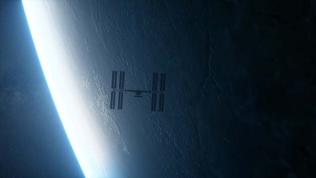 Internationaal ruimtestation iss in een baan om de planeet aarde in de ruimte.