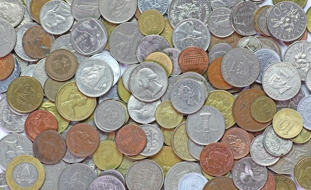 Internationale gemengde munten achtergrond