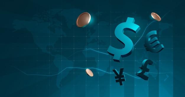 Internationale zakelijke financiën valuta munten voor wereldwijde financiële uitwisseling dollar, euro, pond, yen op beurs achtergrond met digitale contant geld. 3d-weergave.