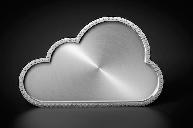 Internet-concept. steel cloud op een zwarte achtergrond