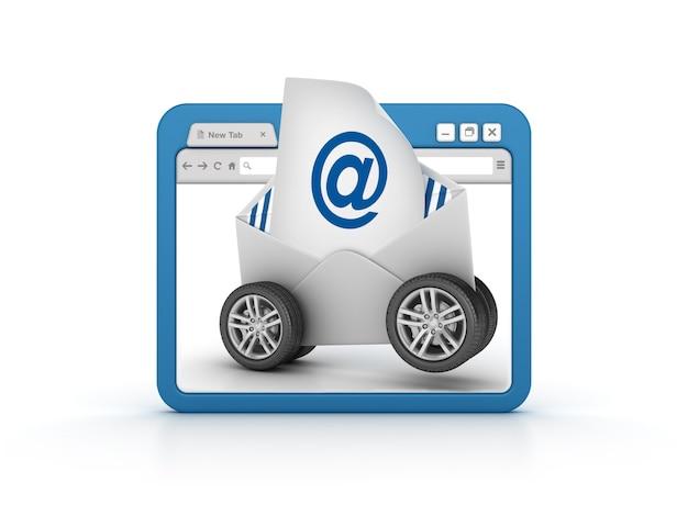 Internetbrowser met e-mailenvelop op wielen
