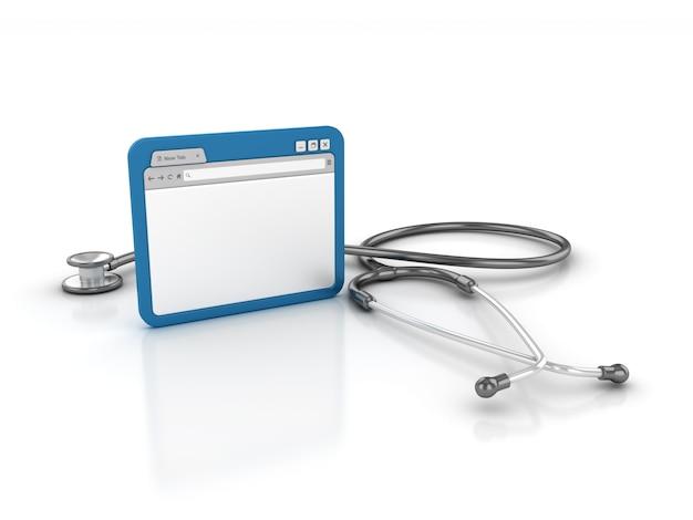 Internetbrowser met stethoscoop
