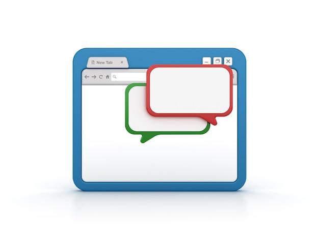Internetbrowser met tekstballonnen
