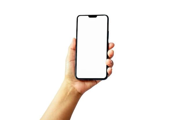 Internetcommunicatie en reclame-ideeën, de hand houdt het witte scherm vast, de mobiele telefoon is geïsoleerd op een witte achtergrond met het uitknippad.