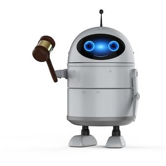 Internetrechtconcept met 3d-rendering android-robot of kunstmatige intelligentierobot met hamerrechter