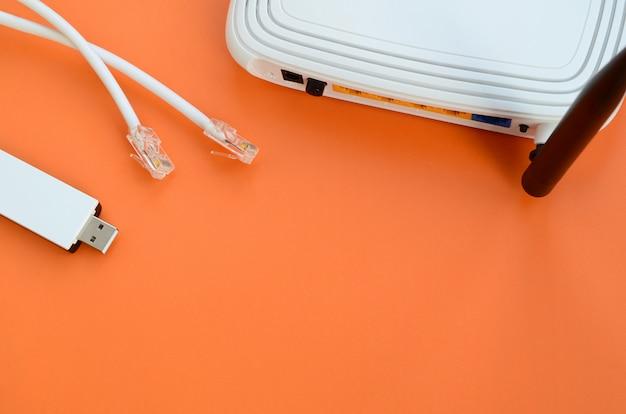 Internetrouter, draagbare usb-wifi-adapter en internetkabelstekkers liggen