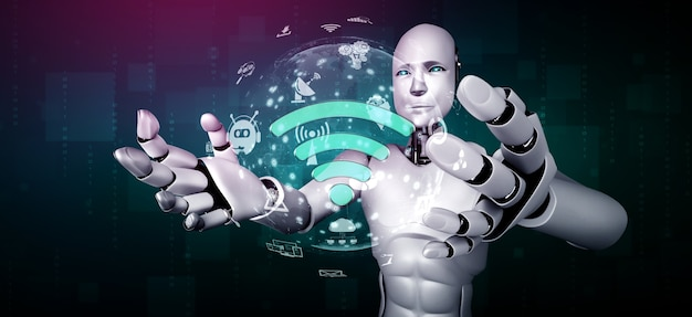 Internetverbinding gecontroleerd door ai-robot en machine learning