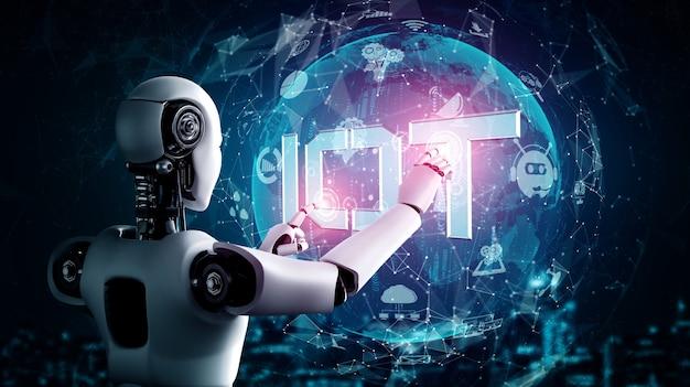 Internetverbinding gecontroleerd door ai-robot en machine-leerproces om dataconnectiviteit en cyberveiligheid te analyseren. 3d illustratie.
