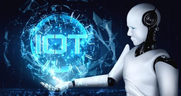 Internetverbinding gecontroleerd door ai-robot en machine leerproces