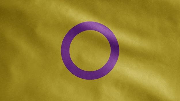 Intersex vlag zwaaien op wind. interseksualiteit banner waait gladde zijde. doek stof textuur vlag achtergrond. gebruik het voor trots gay-dag en evenementen