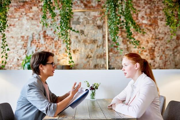 Interview in café