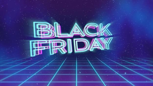 Introtekst black friday en abstract raster, retro achtergrond. elegante en luxe dynamische stijl voor club en entertainment 3d illustratie