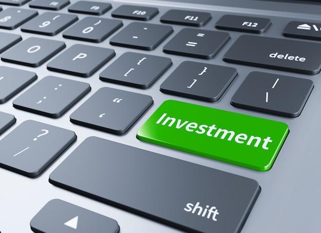 Investeer sleutel op toetsenbord met financiële bedrijfsinvesteringen concept. 3d illustratie