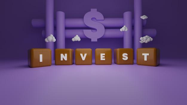 Investeer woord op 3d-gerenderde houten kubussen. financiële bedrijfsconcept voor sparen en investeringen met dollarteken
