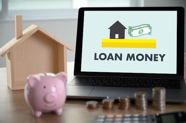 Investering geld besparen voor het kopen van de woning of lening en investeringen in onroerend goed