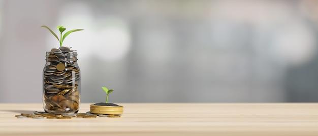 Investeringen en besparingen concept veel gouden munten in glazen pot met groeiende plant op houten tafel met kopie ruimte in onscherpe achtergrond