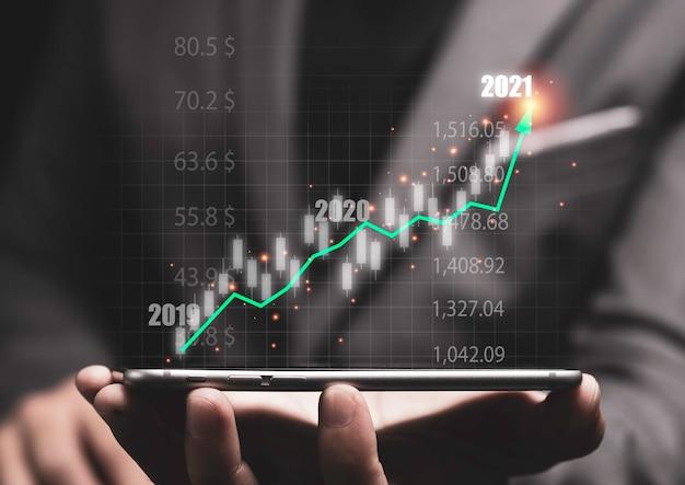 Investeringen op de aandelenmarkt en bedrijfsgroei concept