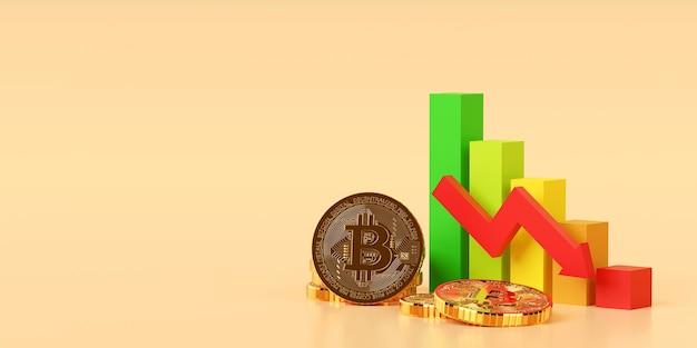 Investeringsconcept, grafiekgrafiek van beurscryptocurrency btc bitcoin trend naar beneden, 3d illustratie